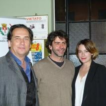 I registi Giorgio Serafini, Edoardo Gibellini e l'attrice Cristiana Capotondi